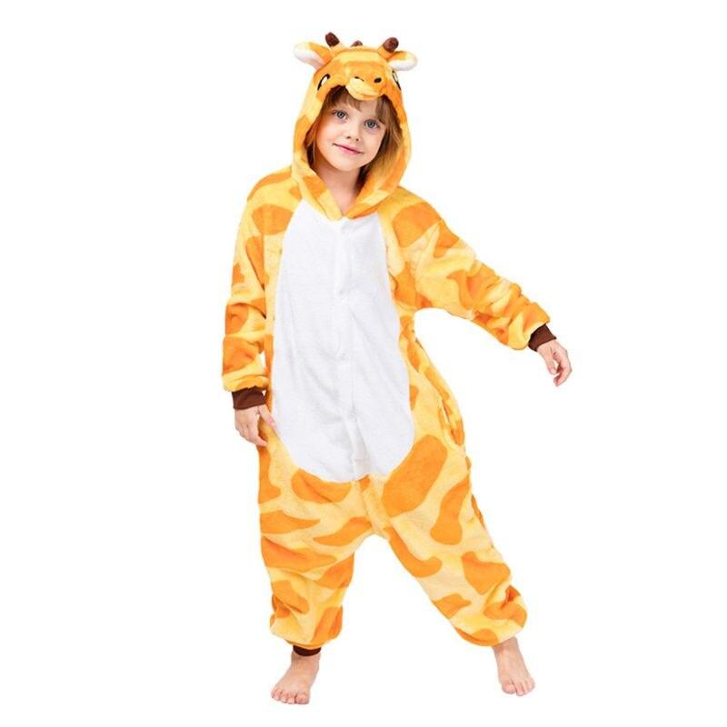 Girafe Animal imprimante enfants une pièce pyjamas à capuche vêtements de nuit en flanelle Cosplay Costume