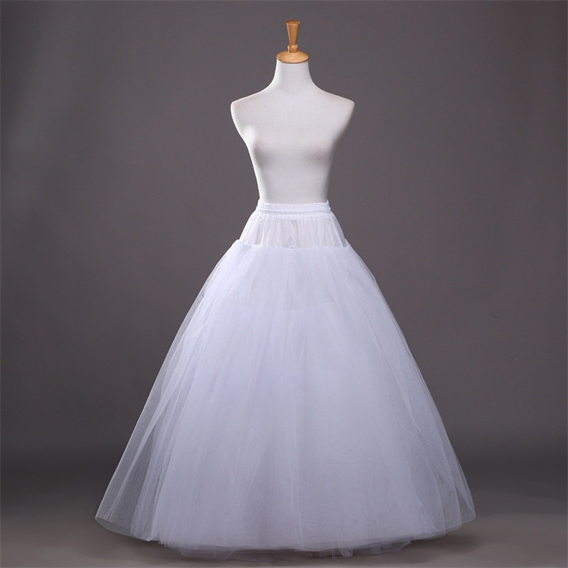 New A-Line Tulle 4 Layers Bridal Wedding Petticoat Bride Accessories Crinoline Underskirt Slips Floor Length