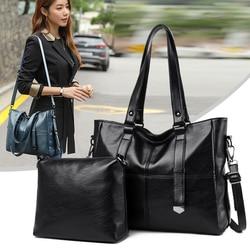 Valenkuci Fashion Women Bag Quality Leather Shoudler Bags 2 Sets Big Purses and Handbags Large Capacity Women Casual Tote Bag