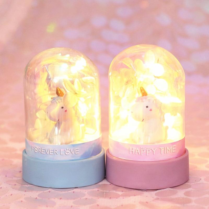 Ins Cartoon Unicorn Night Light Baby Nursery Lamp Bedroom Decoration  Everlasting Flower Star Light Toy Christmas Gift For Kids