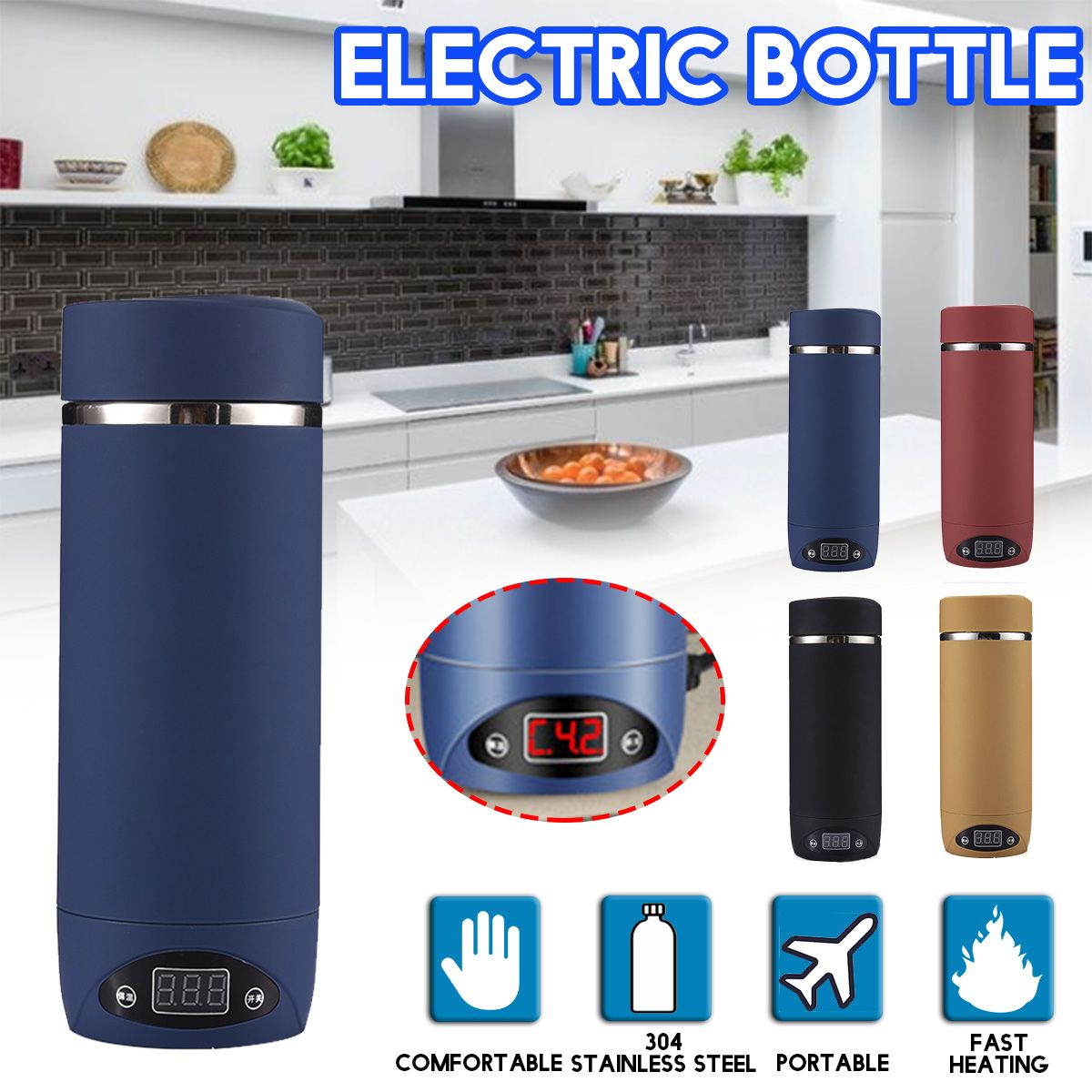440ml Portable Travel Car Electric Heating Cup 304 Stainless Steel Water Kettle Coffee Tea Milk Heated Soaked Noodles Boiler Cup