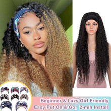 Bella grip bandana peruca synethetic peruca de cabelo encaracolado sem arrancar perucas para as mulheres sem cola sem costurar em peruca para preto