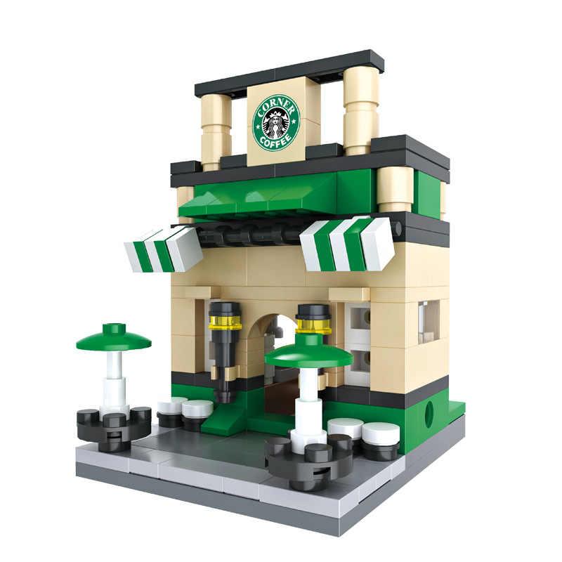 3D Mini Rua Da Cidade Loja de Varejo McDonald Apple Mini Loja de Café Legoings Modelo Blocos de Construção de Brinquedos Educativos para Crianças