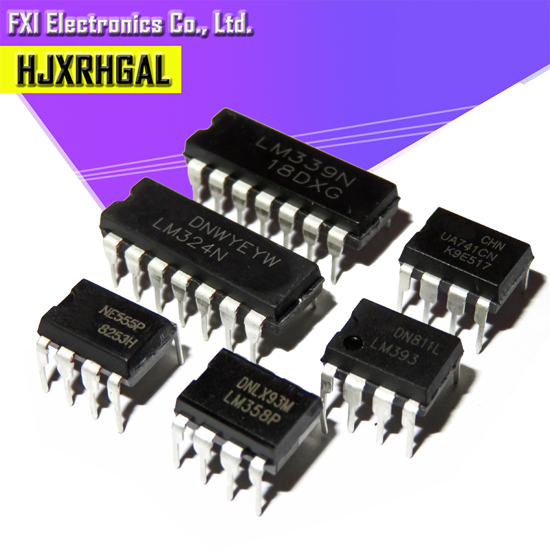 20 шт., усилитель UA741 LM324 LM393 LM339 NE555 LM358 DIP LM358N LM324N LM339N LM393N NE555P UA741CN