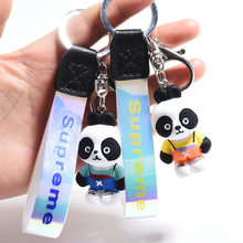 Cartoon Panda Doll Keychain Resin Material Ornament Cute Animal Couple Backpack Pendant Jewelry Wholesale(China)