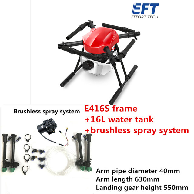 EFT E416S 16L 16 كجم الزراعة رذاذ بدون طيار مع فرش مضخة مياه رذاذ نظام هواية الجناح X9 نظام الطاقة 3