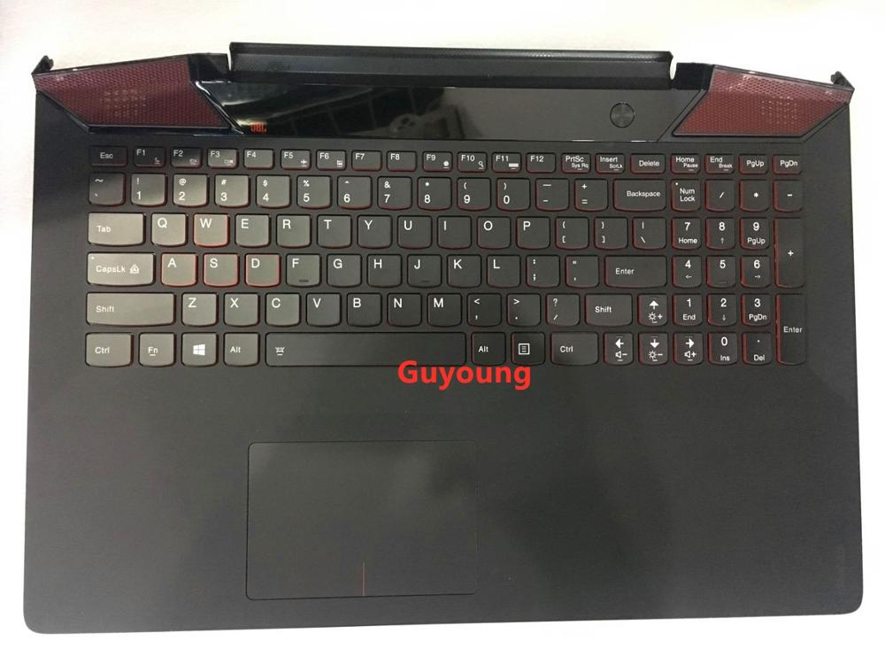 90% NEW Palmrest for <font><b>Lenovo</b></font> IdeaPad <font><b>Y700</b></font> <font><b>Y700</b></font>-15 <font><b>Y700</b></font>-15ISK <font><b>Y700</b></font>-15ACZ Keyboard with Backlit Bezel Upper Cover TOUCHPAD US image