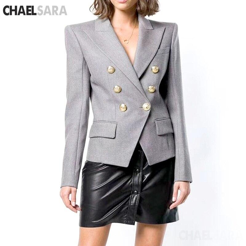 Vintage Double Breasted Gray Women Blazer Pockets Jackets Female Retro Suits Coat Feminino Blazers Outerwear High Quality
