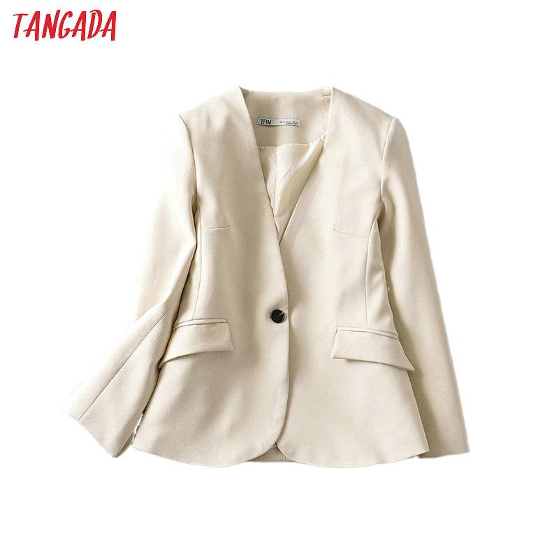 Tangada Women Beige Business Blazer For Female Long Sleeve Button Elegant Jacket Ladies Work Wear Blazer Formal Suits 6A149