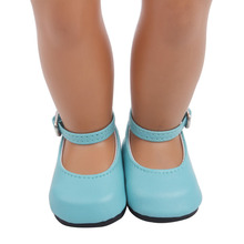 2021 Blue Cute Leather Shoes New Born Baby Doll Shoes for 18