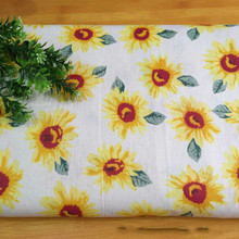 Floral Printed Linen Cotton Sewing Fabric DIY Quilting Sunflower Beige Canvas Home Textile Material