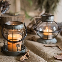 Retro Wrought Iron Candlestick Wind Light Living Room Small Lantern Decoration Ornament Flower Candle Holder can be Hung Gift