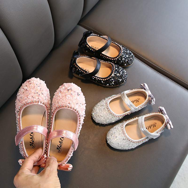 Children Leather Shoes Child Girls Princess Spring Autumn Shoes Chaussure Enfants Sandals Party Sequins Dance Shoes