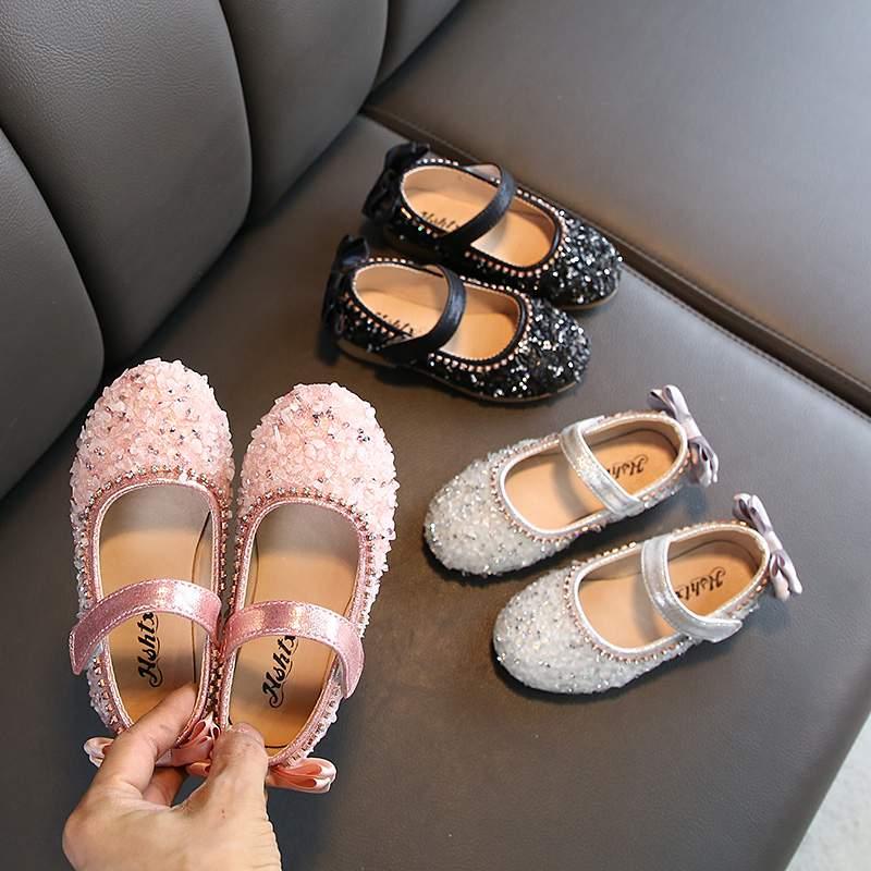 Children Leather Shoes Child Girls Princess Spring Autumn Shoes Chaussure Enfants Sandals Party Sequins Dance Shoes