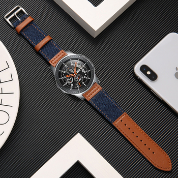 22mm leather+nylon strap for Samsung S3 Frontier Galaxy watch 46mm huawei watch gt watch band amazfit GTR 47mm bracelet