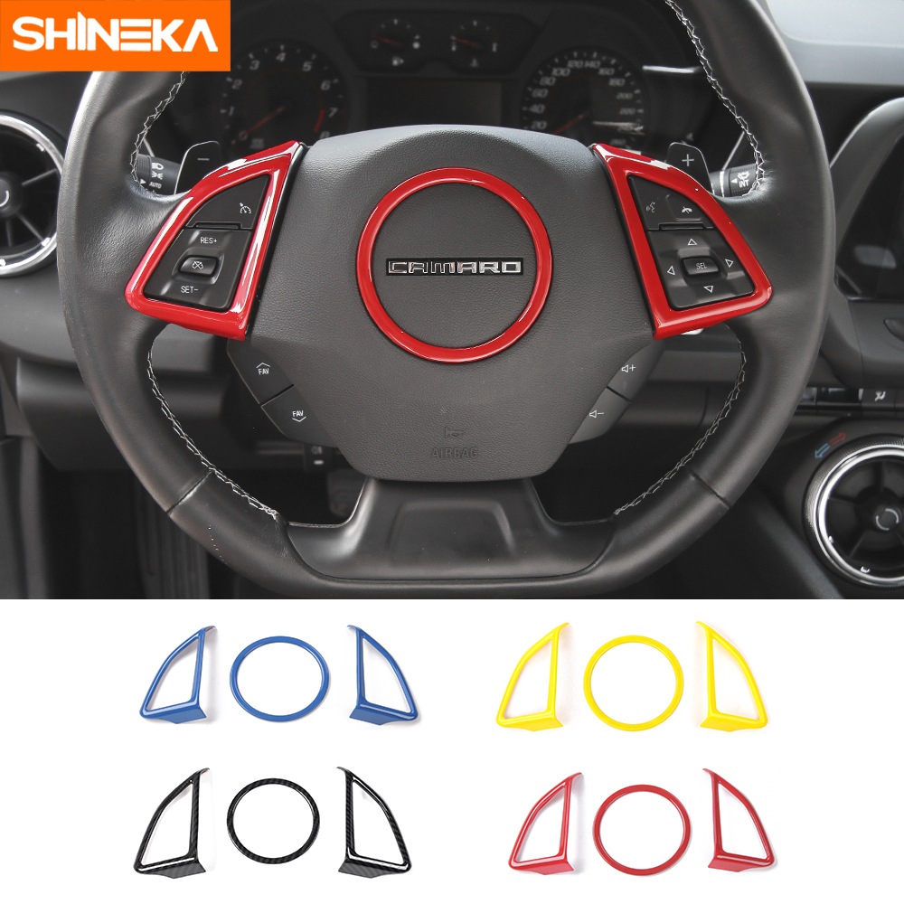 SHINEKA Car Interior Steering Wheel Cover Decoration Sticker Kit Fit For Chevrolet Camaro 2017 2018 2019 Car Accessories Styling