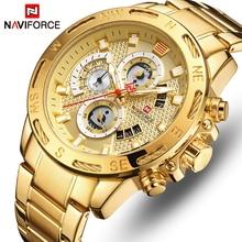 Naviforce高級ブランドメンズスポーツ腕時計ゴールドフルスチールクォーツ腕時計メンズ日付週防水軍事時計レロジオmasculino
