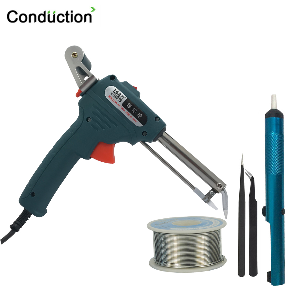110V/220V 60W Tin Soldering Iron Pump Welding Tool Handheld Electric Soldering Iron EU/US /UK Plug Automatic Send Tin Gun Set