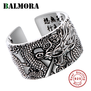 Image 1 - BALMORA Real 999 Pure Silver Dragon Buddhism Sutra Open Rings For Men Stacking Ring Vintage Cool Punk Finger Ring Jewelry Gift
