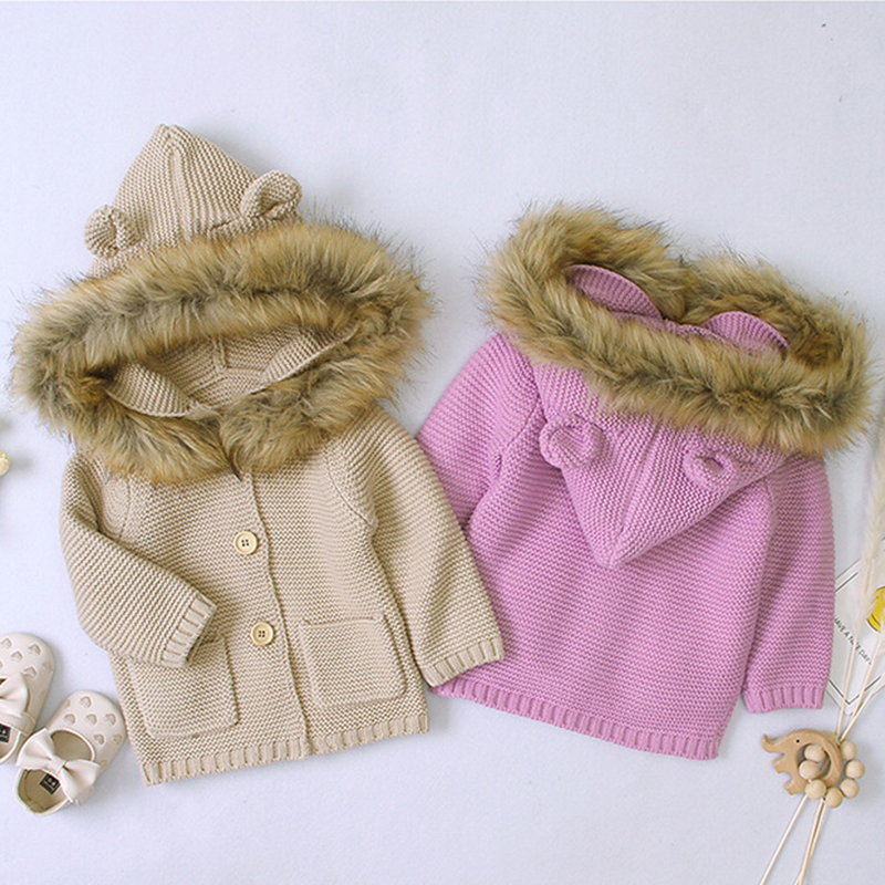 Boys Girls Knitted Cardigan Coat Baby Boy Girl Newborn Autumn Winter Warm Infant Long Sleeve Hooded Jacket Children Clothing