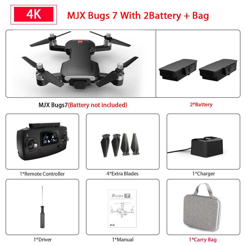 MJX Bugs 7 B7 GPS Drone With 4K 5G WIFI HD Camera Brushless Motor RC Quadcopter Professional Foldable Helicopter VS sg907 K20