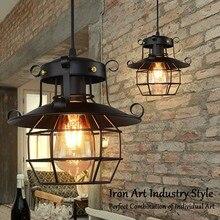 Lámpara colgante Vintage Metal Industrial jaula Edison nórdico Retro desván lámpara hogar Decoración # LC