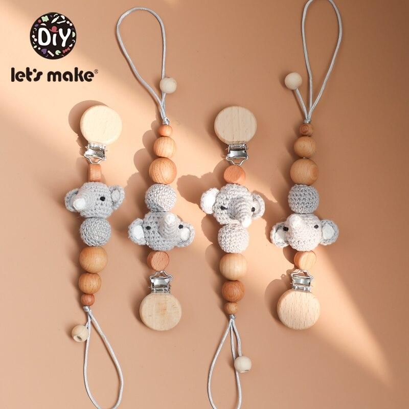 Let'S Make 5 piezas de madera, cadena de chupete, juguetes para bebés, chupete Animal, Clip, accesorios de cochecito de bebé, juguetes para bebés recién nacidos Mono sin mangas para niño recién nacido, sin mangas, con motivos florales, ropa para niña bebé
