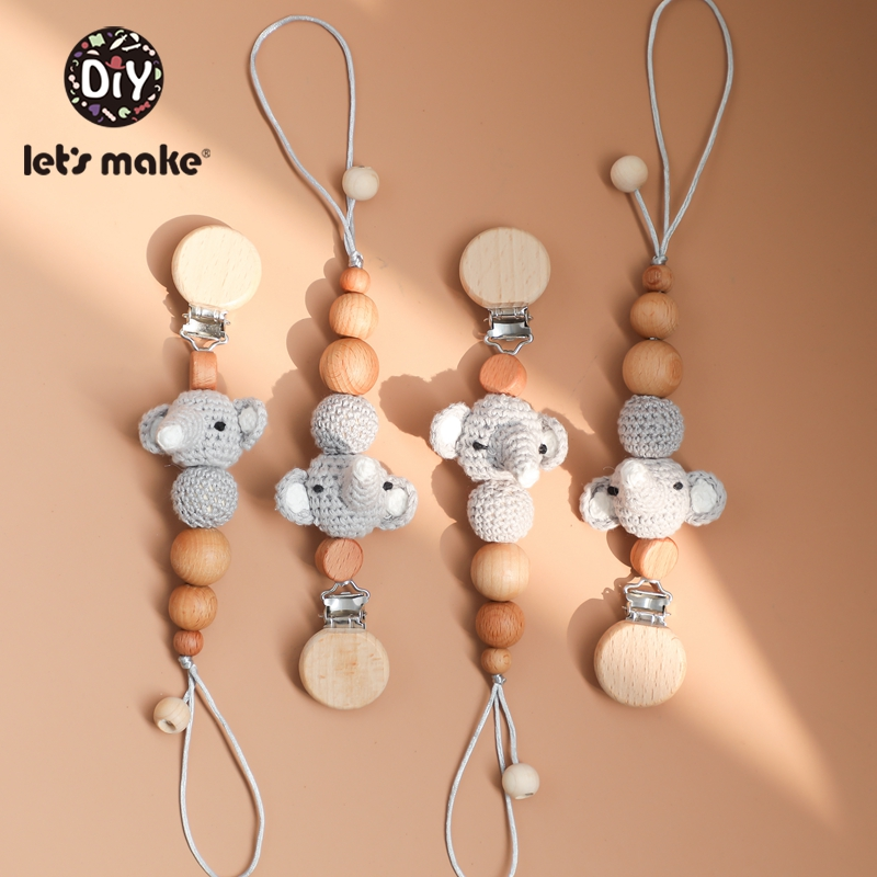 Let'S Make 5Pc Wooden Pacifier Chain Baby Teether Toys Animal Pacifier Clip Baby Stroller Accessories New Born Baby Toys