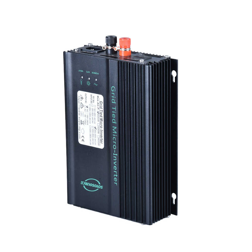 Painel solar inversor grid tie 600w, micro inversor 26-45v ou 55-90v dc pv mppt inversor de rede de onda senoidal puro, inversor 24v 48v de descarga de bateria