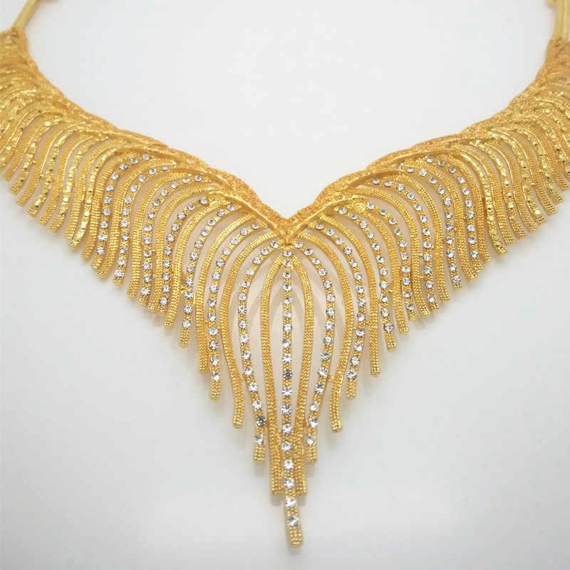 ファッション王国ミリアンペアジュエリーセットナイジェリアドバイゴールド色のアフリカビーズジュエリーウェディングジュエリーセットアフリカ花嫁のウェディングギフト