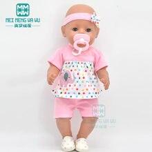 Roupa do bebê para caber 43 cm novo nascido boneca acessórios céu azul camiseta shorts com chupeta