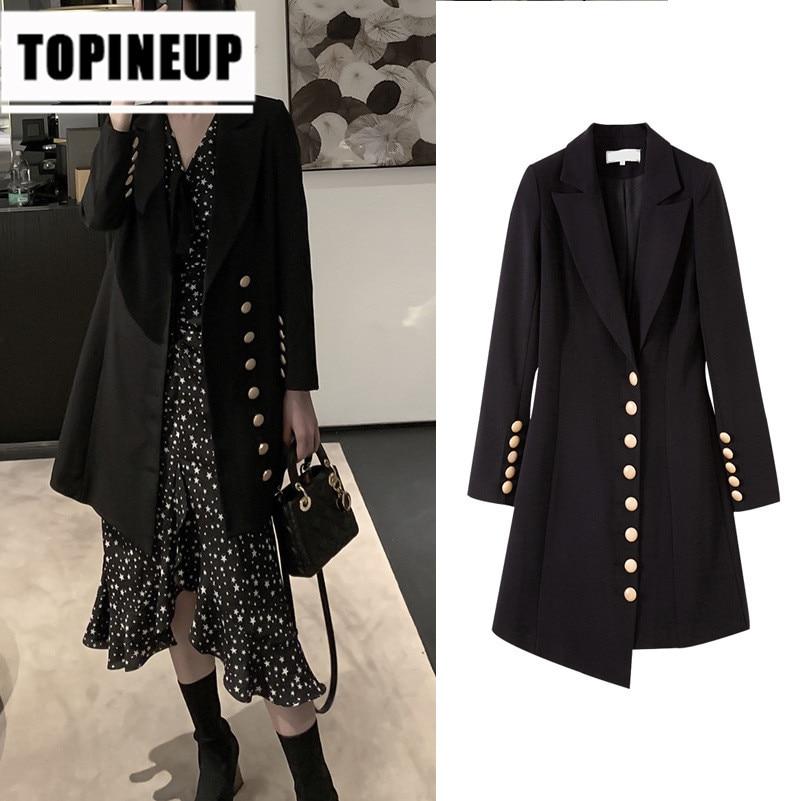 Women's lapel Notch Lapel Slim Fitting irregular mid long slim blazer female jacket
