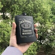 Мини 8 унций полностью черный Джек Ликер Виски кувшин лазер La casa de papel 18/8 нержавеющая сталь спирт водка бедра фляжка Wiskey бутылка