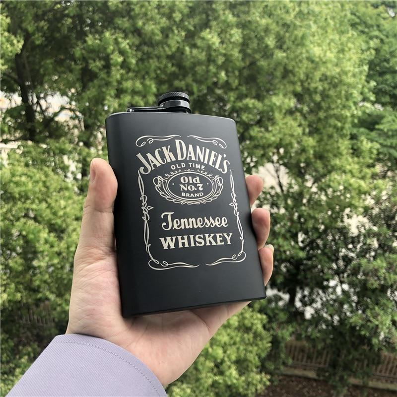 Mini 8oz All black Jack Liquor Whisky Flagon Laser La casa de papel 18/8 Stainless steel Alcohol Vodka Hip Flask Wiskey Bottle
