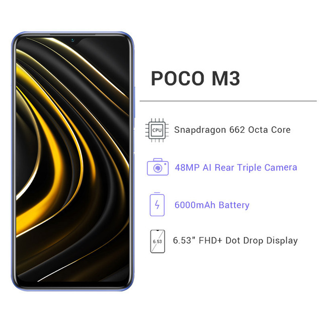 "Versão global POCO M3 4GB 64GB / 128GB Smartphone snapdragon 662 octa núcleo 48mp triplo câmera 6.53"" FHD+ DotDisplay 6000mah bateria 3"