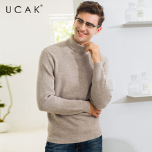 UCAK Brand Sweater Men Fashion Turtleneck Pull Homme Cotton Knitwear Pullover Men Autumn Winter Thick Warm Jersey Hombre U1017