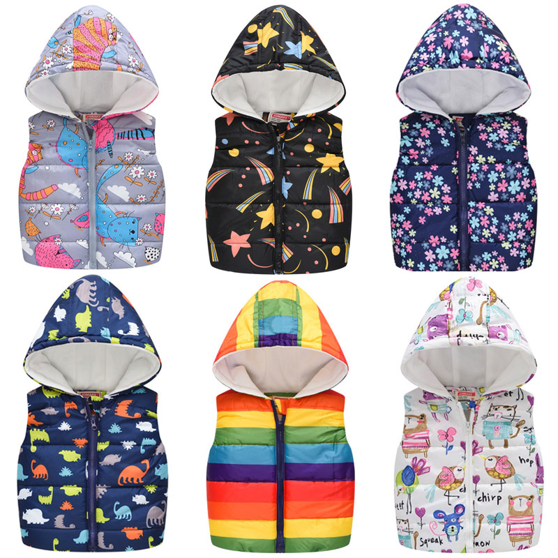 Baby Boys Girls Vest Hooded Jacket Kids Hooded Christmas Costume Clothes Children Autumn Warm Winter Waistcoat Outerwear Outfits 1