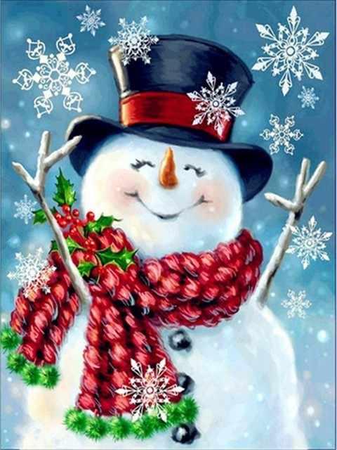 יהלומי ציור יהלומי איש שלג חג מולד פסיפס יהלומי רקמת חורף 5d diy מלא תפר צלב עיצוב הבית