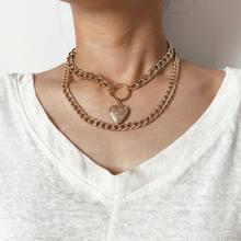 Женское многослойное ожерелье с подвеской в виде сердца