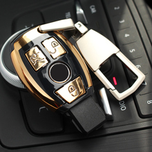 ABS Auto New Car Styling Remote Key Shell Key Case Cover With Keyring Key chain Buckle For Mercedes Benz C Class W205 GLC GLA
