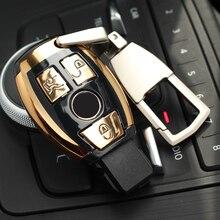 ABS Tự Động Mới Kiểu Dáng Xe Từ Xa Vỏ Chìa Khóa Chìa Khóa Bao Da Với Móc Khóa Dây Chuyền Chìa Khóa Dành Cho Xe Mercedes Benz C lớp W205 GLC GLA