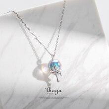 Thaya Женское ожерелье подвеска в богемном стиле и оригинальном дизайне в форме пузыря с радужным отливом из серебра 925 пробы