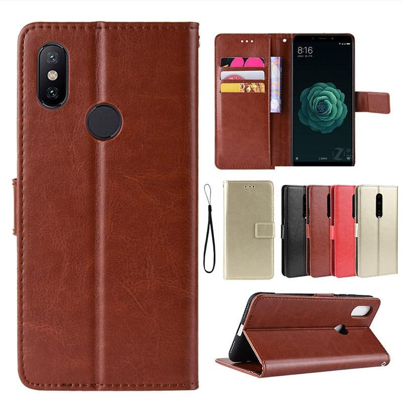 Leather case Phone Accessories Phone Flip Case for mi A2 A1 Mi 5X 6X Mobile Cover Anti-fall Card Kickstand