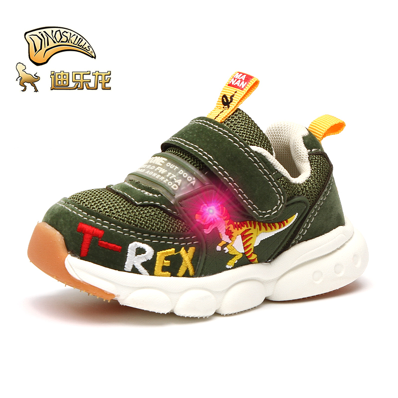 DINOSKULLS Toddlers Kids LED Shoes Baby Trainers Boys Dinosaur Glowing Sneakers Autumn Children's Tennis Breathable Light Shoes