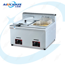 GF71 LPG Gas Deep Tank Potato Chips Fryer Stainless Steel Fish Fried Fryer Oven One Tank Two Tanks with baskets цена и фото