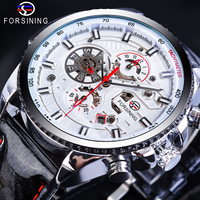 Reloj Mecánico masculino de lujo Forsining caja grande blanca 6 manos calendario genuino de cuero de alta calidad reloj automático