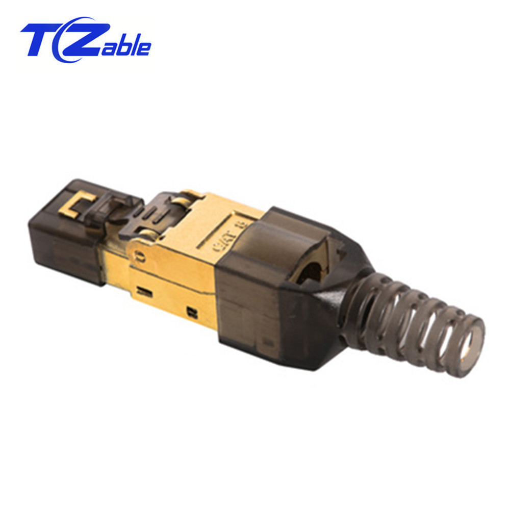 CAT8 Ethernet Plug 8P8C Network Cable Plug Connector 5G Broadband RJ45 Connector Tool-Free Crimping Shielded Crystal Head