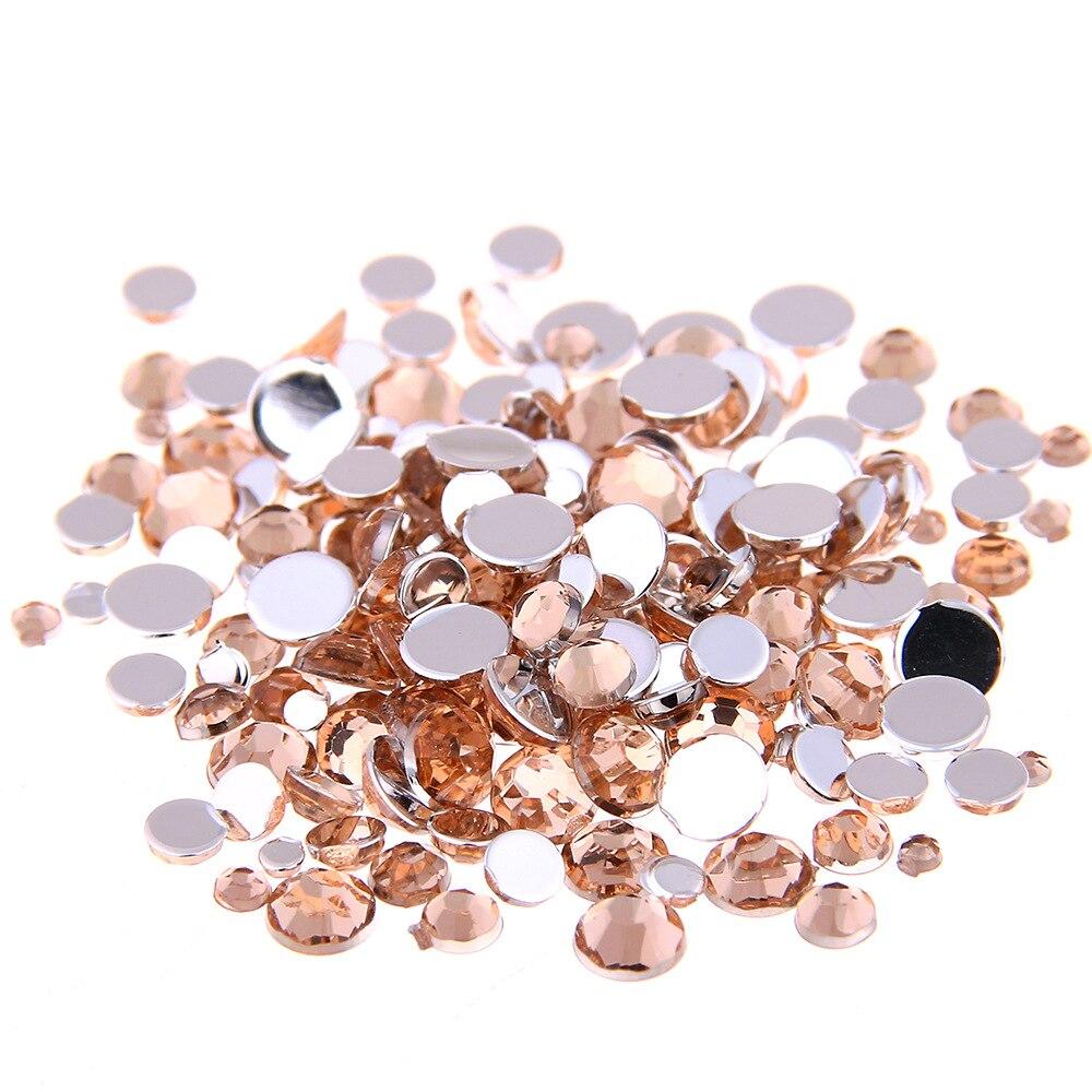 Шампанж цвет 1,5 ~ 12 мм плоские круглые акриловые стразы, 3D акриловые украшения для ногтей/одежды