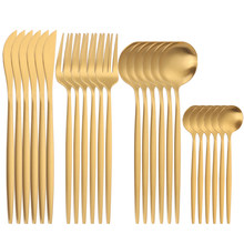 SPKLIFEY Gold Cutlery 24 Pcs Golden Cutlery Set Stainless Steel Dinnerware Set Spoon Set Tableware Forks Knives Spoons New
