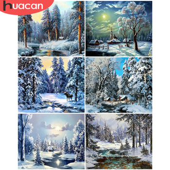 HUACAN Paint By Number Forest Drawing On Canvas Winter DIY Pictures By Numbers Scenery Kits Hand Painted Painting Home Decor